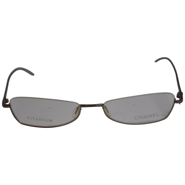 Chanel Iridescent Gold Titanium Weightless Half-Frame Reading Glasses