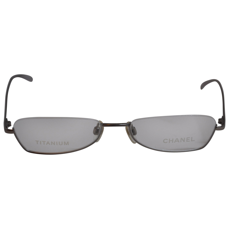 "Chanel Iridescent ""Spring-Lavender"" Titanium Weightless Half-Frame Glasses"