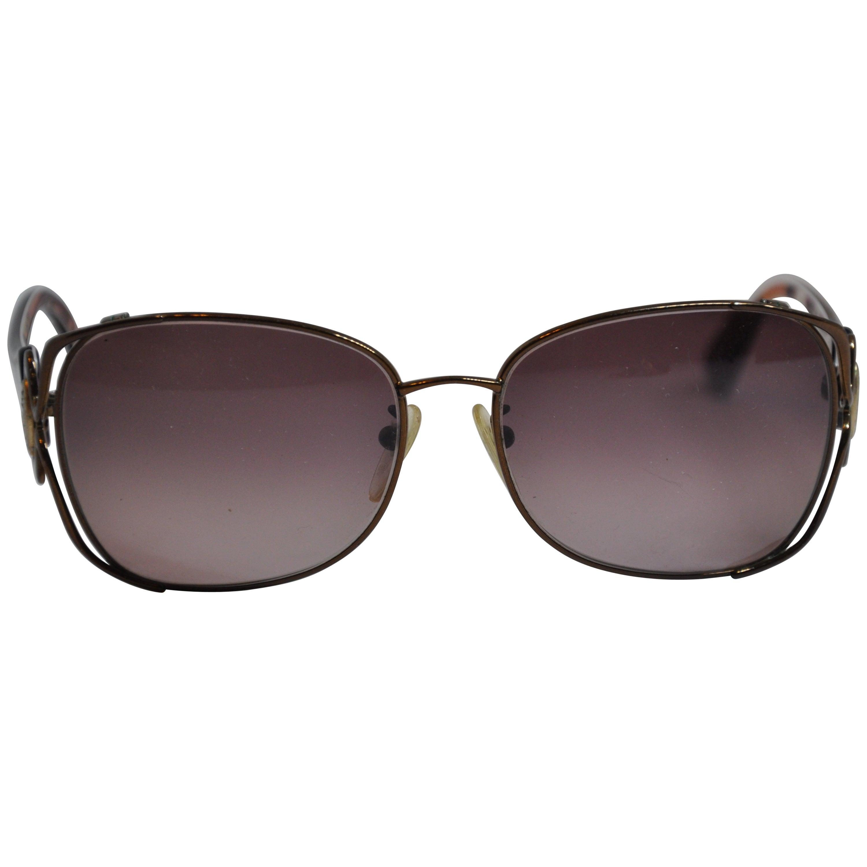 """Emilio Pucci Tortoise Shell & Bronze """"Swirls"""" Prescription Sunglasses"""