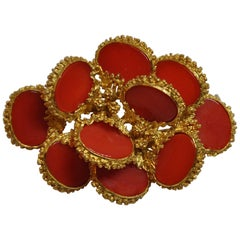 Detailed Etched 18K Yellow Gold Accented with Natural Coral Brooch/Hat Pin