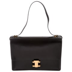 Hermes Black Leather Gold Emblem Evening Top Handle Satchel Kelly Style Flap Bag