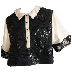 Geoffrey Beene Vintage 1980's Sequin Accented Cropped Lace Top