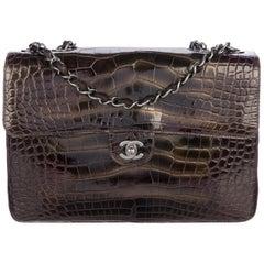 Chanel Alligator Leather Large Jumbo Evening Shoulder Flap Bag