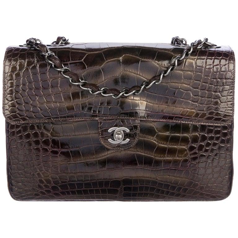 Chanel NEW Alligator Leather Large Jumbo Evening Shoulder Flap Bag