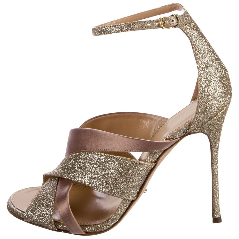 Sergio Rossi New Gold Taupe Satin Evening Sandals Heels