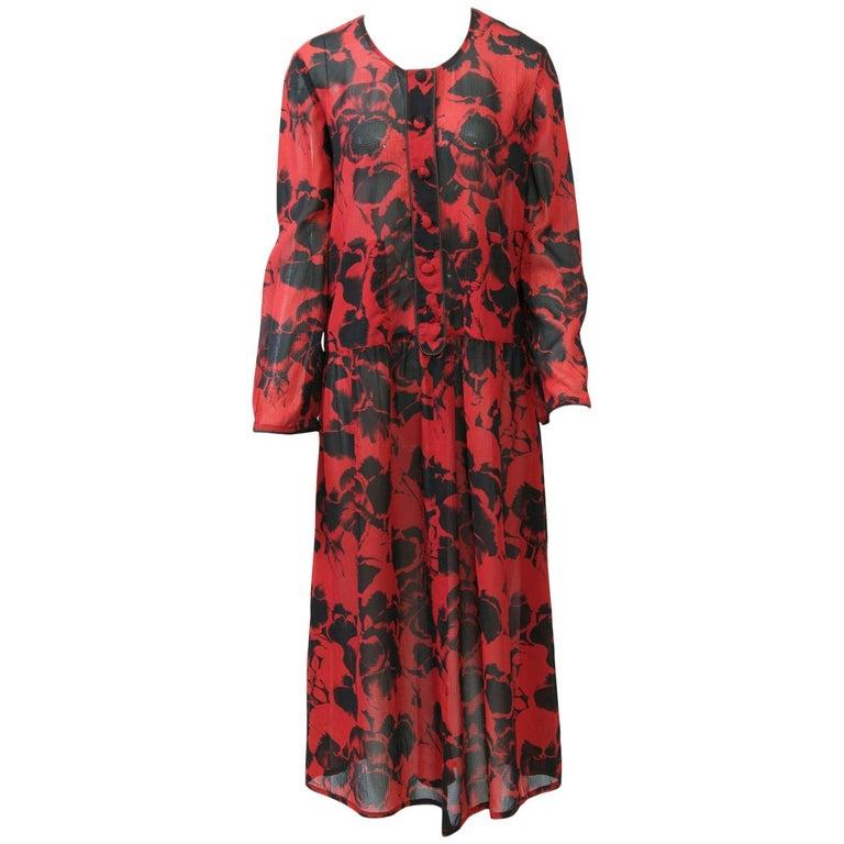 Sonia Rykiel Red Print Dress For Sale