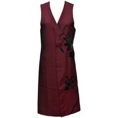 Alexander McQueen Vintage Burgundy Long Embroidered Vest Jacket