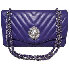 b59e03ef6886 Chanel Purple Lambskin Leather Lion's Head Classic Flap Shoulder Bag