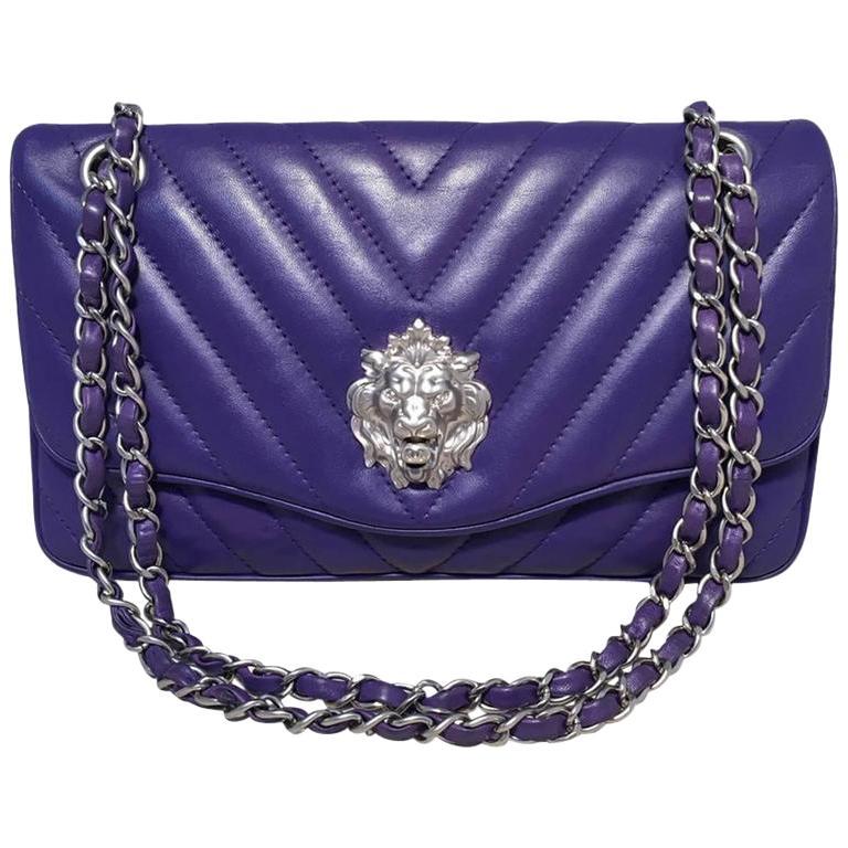 Chanel Purple Lambskin Leather Lion's Head Classic Flap Shoulder Bag