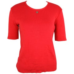 Chanel Red Knitted Cotton Top
