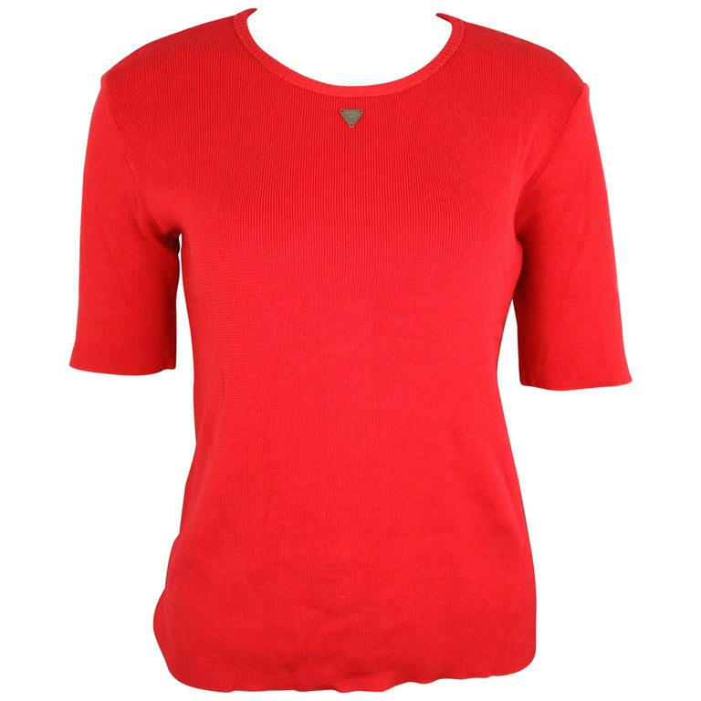 Chanel Red Knitted Cotton Top  For Sale