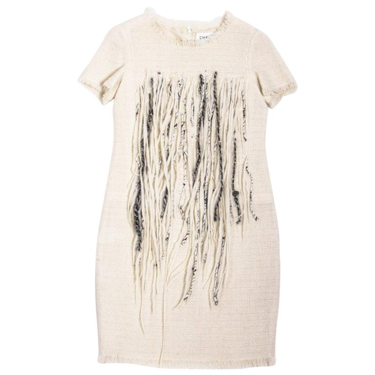Chanel Cream Tweed Dress Embroidered with Pearls  For Sale