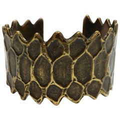 YVES SAINT LAURENT Vintage Ethnic Cuff Bracelet in Bronze Color