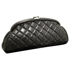CHANEL Lambskin Timeless Clutch Bag Black Quilted Leather Silver