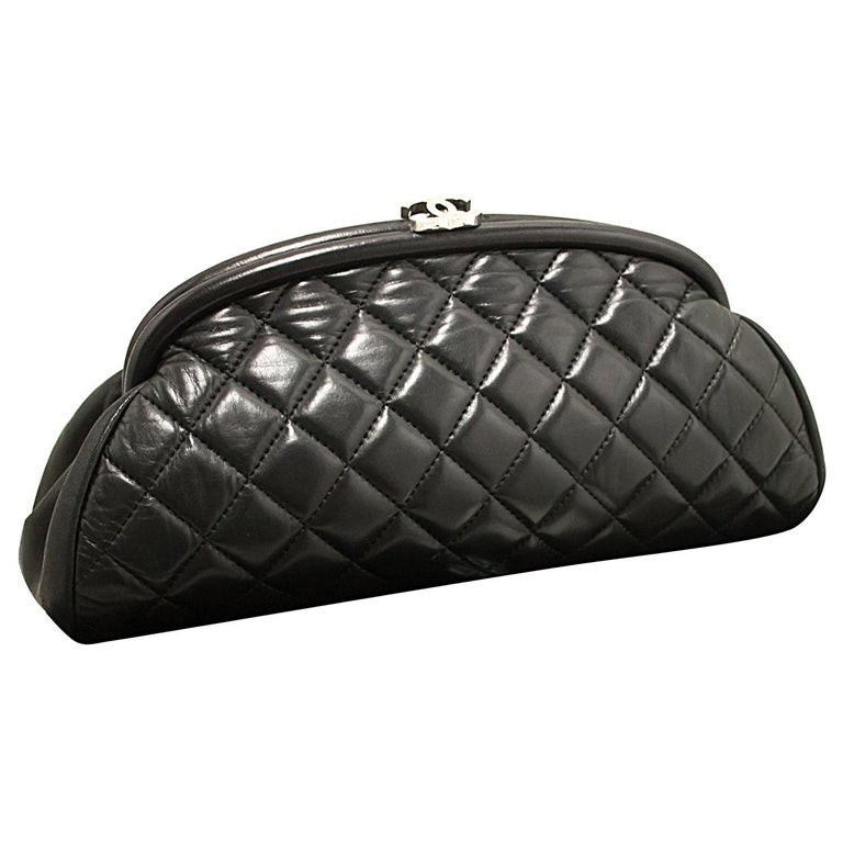 22586d37c107b7 CHANEL Lambskin Timeless Clutch Bag Black Quilted Leather Silver For Sale