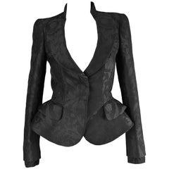Alexander McQueen Nipped Waist Black Damask Architectural Peplum Jacket, 2012