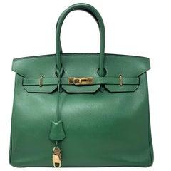 Hermes Emerald Green courchevel leather Gold hardware Birkin 35 Bag
