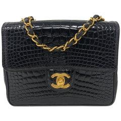 Chanel Black Crocodile Vintage Mini Bag