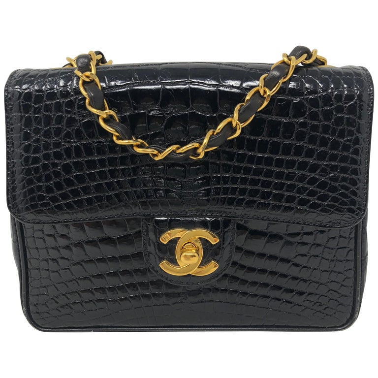1a9ea7df5a53 Chanel Black Crocodile Vintage Mini Bag For Sale at 1stdibs