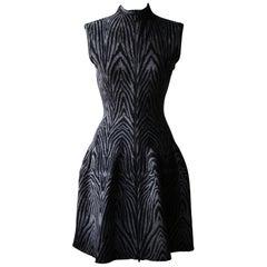 Azzedine Alaïa Zip Front Printed Stretch Knit Dress