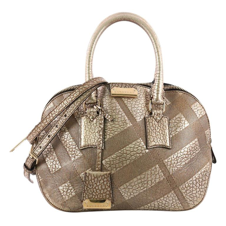 Burberry Orchard Bag Embossed Check Leather Small