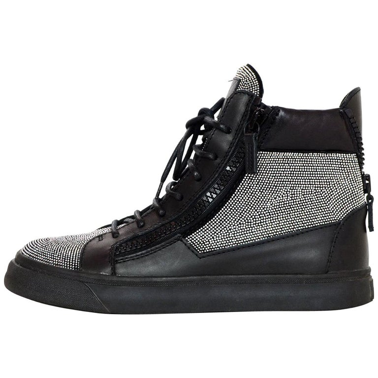 1d54df8d916bc Giuseppe Zanotti Black High Top Crystal Unisex Sneakers sz 41 For Sale