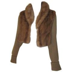Mink fur short jacket with detachable sleeves