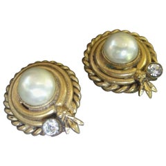 Chanel Glass Enamel Pearl Gilt Metal Clip On Earrings, circa 1980s