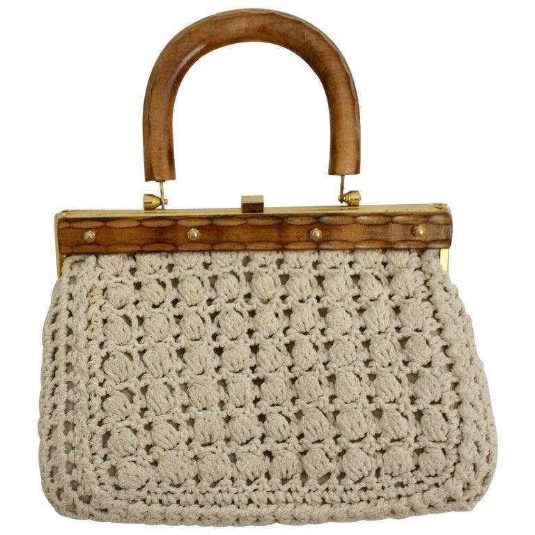 White Vintage Handlebag Crochet Italy, 1960s