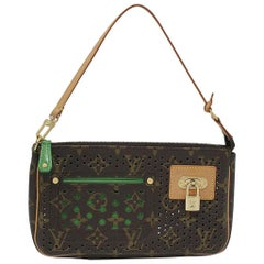 Louis Vuitton Perforated Monogram Green Pochette Purse Handbag