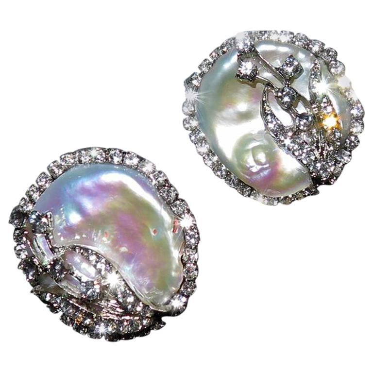 Mei's Swarovski Crystal with Pearl Button Clip Earrings For Sale