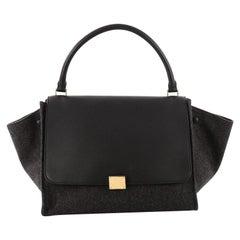 Celine Trapeze Leather and Felt Medium Handbag