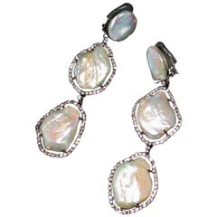 Mei's Swarovski Crystal and Triple Pearl Drop Clip Earrings