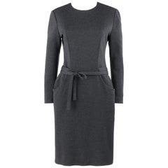 BILL BLASS c.1980's Charcoal Gray Knit Long Sleeve Belted Shift Dress