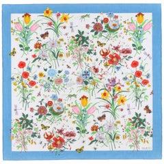 GUCCI c.1970s Vittorio Accornero Wildflower Butterfly Floral Square Cotton Scarf
