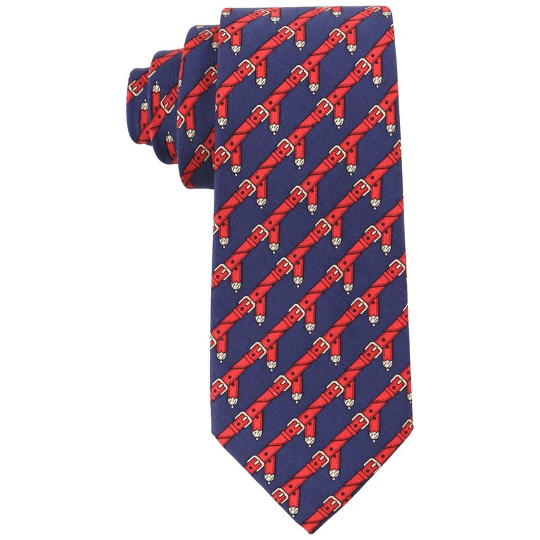 HERMES c.1980's Navy Blue & Red Equestrian Belt 5 Fold Silk  Necktie Tie 954 IA For Sale