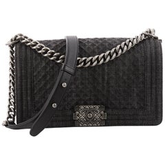 Chanel Boy Flap Bag Quilted Denim Old Medium