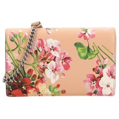 Gucci Chain Wallet Blooms Print Leather