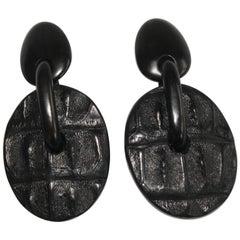 Monies Ebony Wood and Embossed Leather Croco Clip Earrings