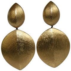 Monies Acacia Wood and Gold Leaf Clip Earrings