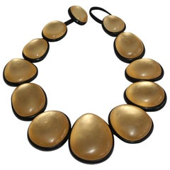 Monies Gold Leaf and Polyester Choker Necklace