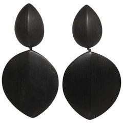 Monies Ebony Wood Statement Clip Earrings