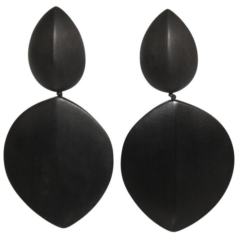 Monies Ebony Wood Statement Clip Earrings For Sale