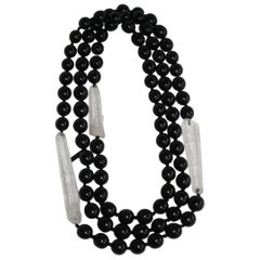 Monies Kamagong Wood and Mountain Crystal Necklace