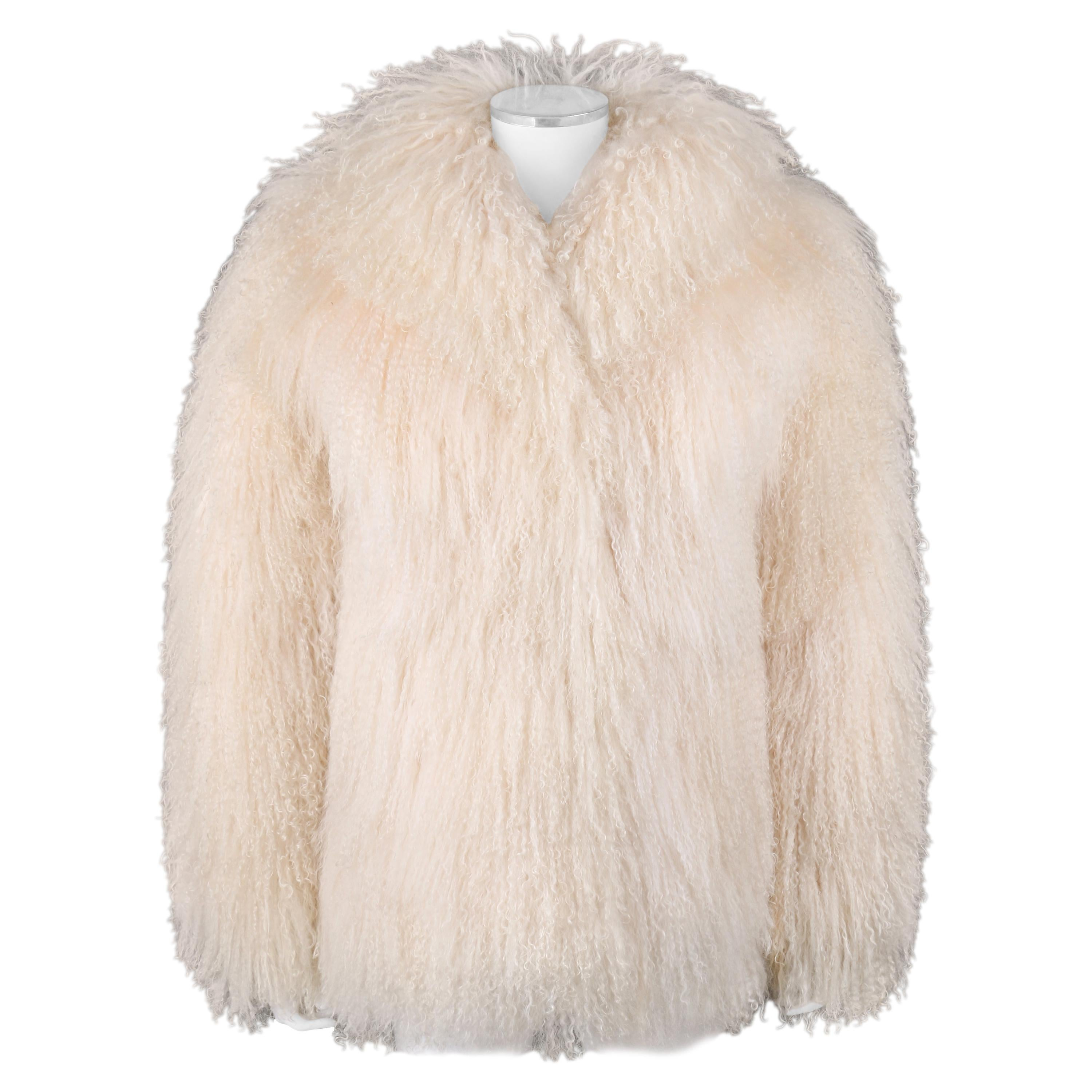 e8824a453a32b SAFURON Cream Curly Mongolian Lamb Fur Coat Jacket For Sale at 1stdibs