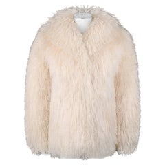 SAFURON Cream Curly Mongolian Lamb Fur Coat Jacket