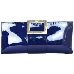 Roger Vivier Blue Patent Leather Pilgrim Clutch Bag w. Gold Clasp Closure