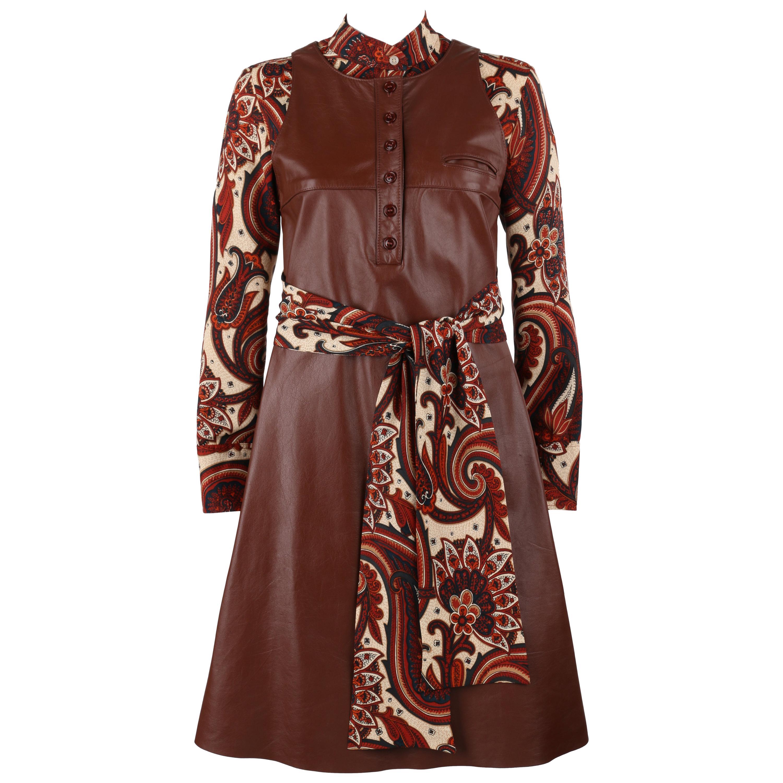 ANNE KLEIN c.1970's 3 Piece Paisley Blouse Leather Jumper Dress Set w/ Sash