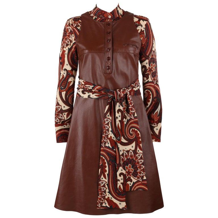 ANNE KLEIN c.1970's 3 Piece Paisley Blouse Leather Jumper Dress Set w/ Sash For Sale