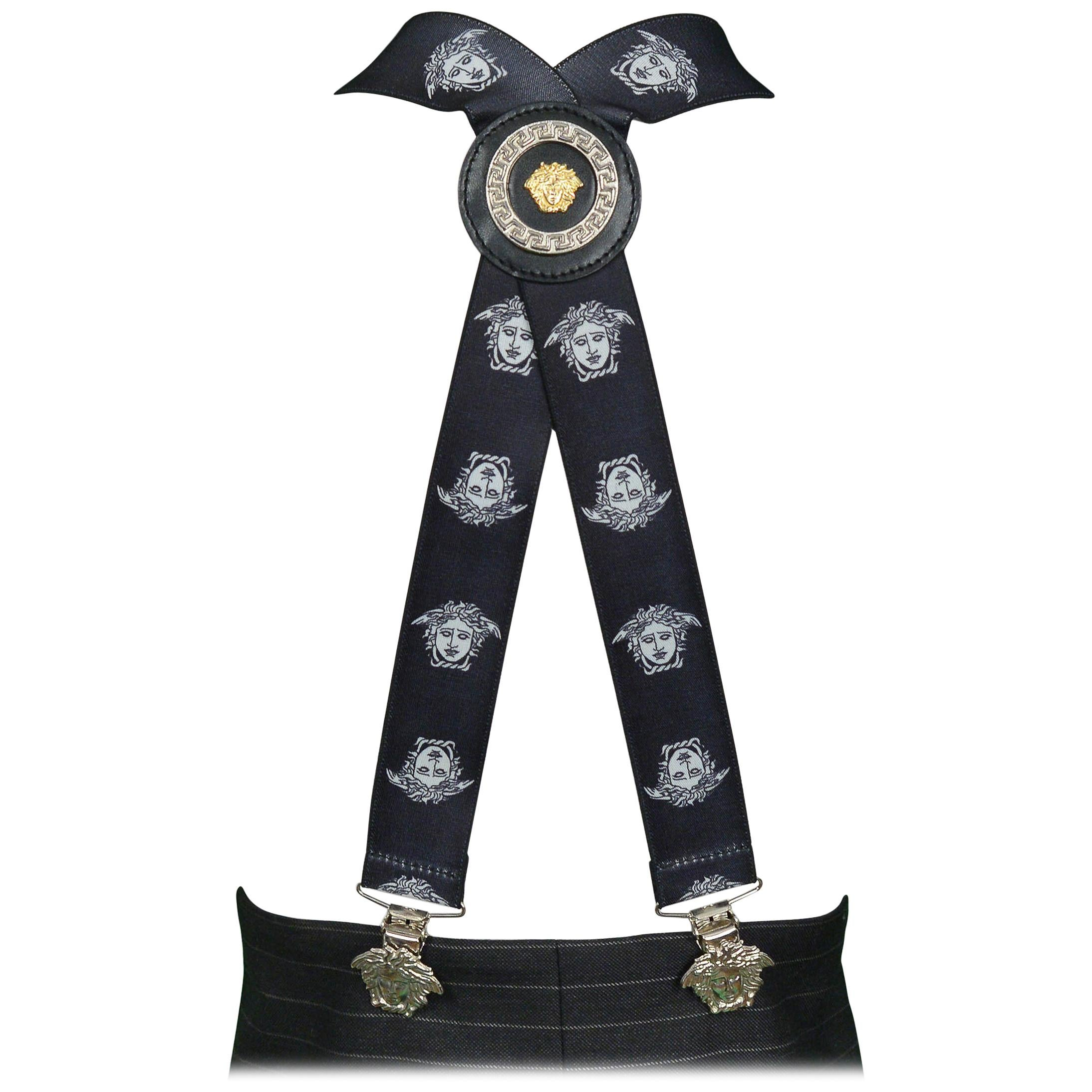 Vintage Versace Black & White Medusa Suspenders